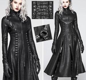 EN STOCK Manteau cuir long fendu gothique cyber punk Matrix agrafe lacé PunkRave