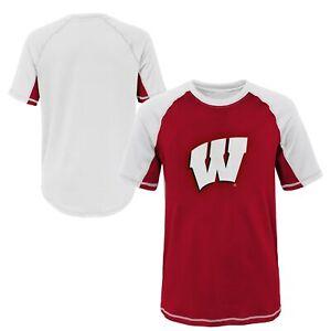 Outerstuff NCAA Youth Wisconsin Badgers Color Block Rash Guard Shirt