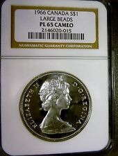 Canada 1966 $1 Silver Dollar PL65 CAMEO NGC LARGE BEADS