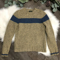 Vintage ABERCROMBIE & FITCH Mens Sweater Size S Wool Tan Chest Stripe Crewneck