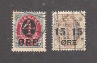 Denmark stamps #55 & 56, used, 1904 - 1912, SCV $21.50