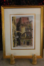 WONDERFUL PICTURE FRAME WITH COLORED SIGNED SILK OF OLD GERMAN TOWN #2