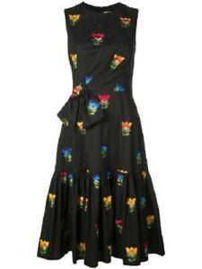 CAROLINA HERRERA New Black Front Bow Embroidered Dress, lined $1990, sz 6 US