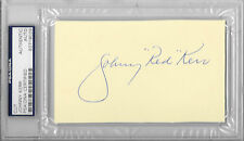 """JOHNNY """"RED"""" KERR Signed 3x5 Index CARD Chicago BULLS Announcer NBA RIP PSA/DNA"""