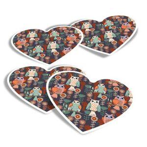 4x Heart Stickers - Cute ky Wise Owls Animals Birds  #8731