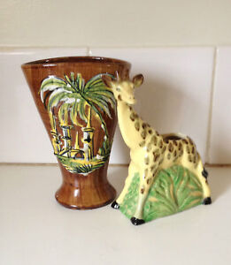 Vintage Italy 2 Vases Ceramic Pottery Majolica Palm & Giraffe 1950 Retro Saffari