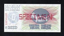 ** BOSNIA AND HERCEGOVINA  1992 - 1000 DINARS SPECIMEN  BANKNOTE  VERY SCRACE **