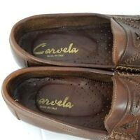 Carvela Men's Brown Tassel Loafer Woven Vamp Size US 9.5 EU 43.5 Made in Italy