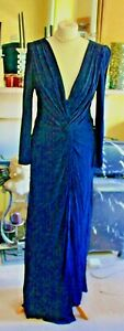 Badgley Mischka navy blue drape front evening gown size 12