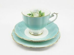 Roslyn Fine Bone China Trio Tea Cup Set England Pastel Blue Gold Gilt