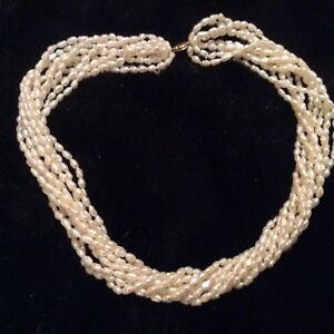 """Vintage 10 Strand Freshwater Pearl 18"""" Necklace 14k Gold Clasp"""