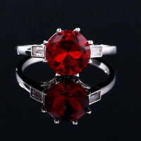 Charm 925 Silver Round Ruby Gem Birthstone Simple Design Engagement Jewelry Ring