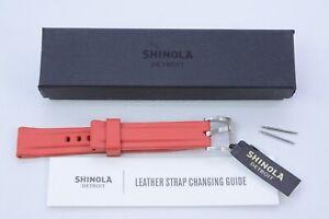 SHINOLA Watch Strap Red Rubber Stern/Shinola Genuine New Multiple Sizes