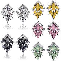 Elegant Women Rhinestone Crystal Resin Leaves Ear Stud Earrings Fashion Jewelry