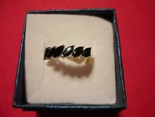 Black Sapphire Marquise 6-Stone Ring in 925 Sterling Silver-Size 7-2.15 Carats