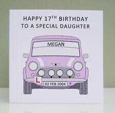 Personalised Girls 17th Birthday Card - Mini - Mini Cooper Learner Driver