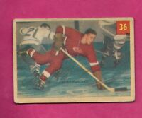 1954-55 PARKHURST # 36 RED WINGS ALEX DELVECCHIO CREASED  CARD  (INV# A7740)