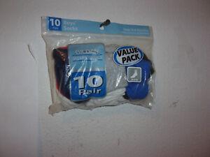 BRAND NEW GILDAN SMART BASICS 10-PAC OF BOY'S ASSORTED COLORED ANKLE SOCKS..0-6