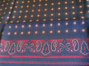 """Brooks Brothers SILK  Scarf Red Floral 26"""" x 26"""" NAVY/RED PAISLEY"""