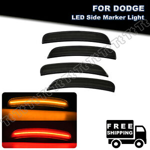 4Pcs Smoked Front & Rear LED Side Marker Lights Lamp For 2015-2021 Dodge Charger