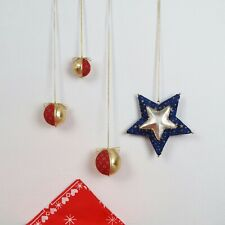 Vintage Christmas Handmade Hanging Baubles and Star Gold Red Blue Fabric