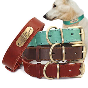 Red/Brown Soft Real Leather Personalised Dog Collar Custom Pet ID Nameplate M-XL
