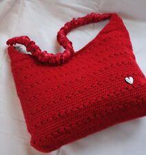 Handmade Crochet Red Bag Boho Festival Women's Shoulder Bag Hippie  Casual Bag