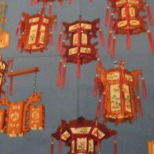 Chinese Asian cotton fabric paper lamps Hancock BTHY half yard on blue lantern