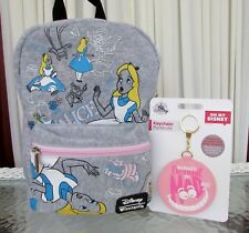 Disney Loungefly Alice in Wonderland Backpack Bag Cheshire Cat Keychain NWT