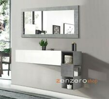 Mobile da ingresso con libreria sospesa, ribalta e specchio-ZLCINGR05