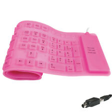 LogiLink Flexible Gummi Silikon USB / PS/2 Tastatur Wasserfest PC Computer Pink