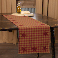 """Burgundy STAR 48"""" TABLE RUNNER COUNTRY PRIMITIVE RUSTIC DECOR VHC BRANDS*"""
