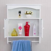 Wall Mount Bathroom Storage Cabinet Kitchen Cupboard Organizer W/Towel Bar White