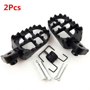 1Pairs Aluminium Motorcycle Wide Foot Pegs Footrest 8mm Bolt Black Kit Universal