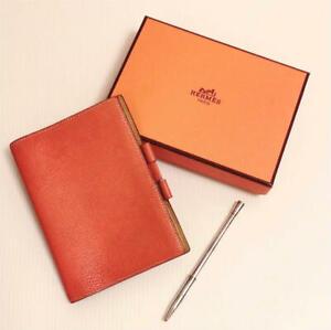 Auth HERMES Agenda Day Planner Cover w/Ballpoint pen Orange Silve Used from JPN