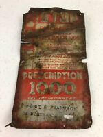 1930's Prescription 1000 Small Metal Door Sign