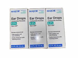 Major Pharma Ear Wax Removal Drops 15ml, Debrox Generic (3 Pack) EXP 9/21