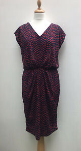 NEXT Navy Blue Red Patterned Stretch Gathered Ruched Midi Dress - UK 10 / 12