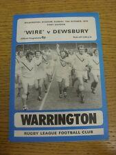 13/10/1974 programma Rugby League: Warrington V Dewsbury (piegato). condizione: W