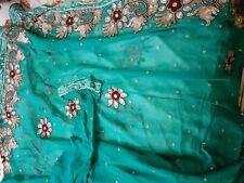 Saree Sari Teal Blue Diwali Eid Wedding Mayoun