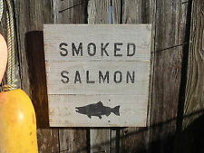 "16 INCH WOOD CEDAR HAND PAINTED ""SMOKED SALMON"" SIGN NAUTICAL MARITIME (#S297)"