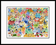 SPICE OF LIFE Whimsical Colorful Cats LTD ED CAT ART CatmanDrew Drew Strouble