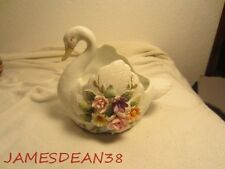 White Bisque Lefton Hand Painted Swan Kw 3782