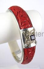 SAJEN HAND CARVED CINNABAR STERLING SILVER BANGLE BRACELET Garnet Gemstones