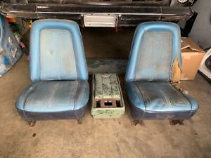 1969-1972 Chevy C10 Truck Bucket Seats Assy OEM Gmc chevrolet and console