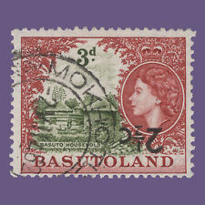 Basutoland 1961 (Variety) 2½c/3d Basuto Household with inverted surcharge