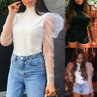 Fashion Women Turtleneck Casual Solid Puff Sleeve Long Sleeve Tops Shirt Blouse
