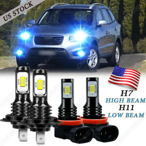 For Hyundai Santa Fe 2007-2012 8000K LED Headlight Hi/Lo Beam Combo Bulbs Kit