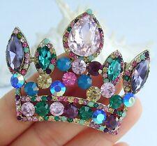 Gorgeous Crown Brooch Pin Multicolor Austrian Crystal Pendant 05050C6