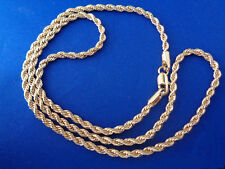 Gold French Rope Chain 24 inch 3mm 24k Gold Plated Necklace Chain Yellow Gold
